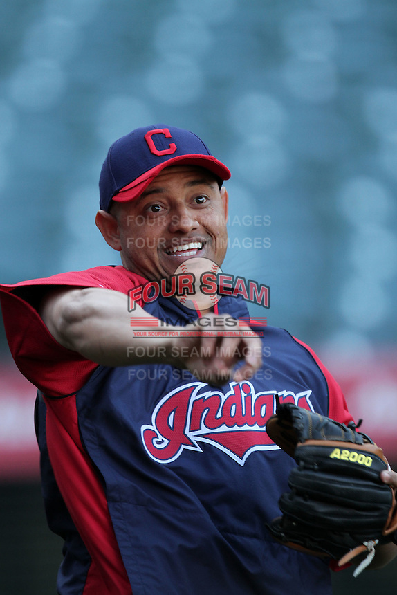 Orlando Cabrera #20 of the Cleveland Indians before game against the Los Angeles Angels at Angel Stadium in Anaheim,California on April 11, 2011. Photo by Larry Goren/Four Seam Images