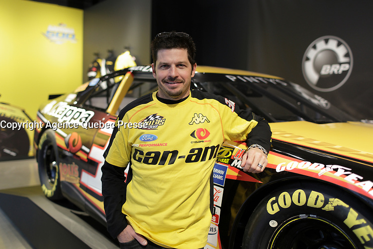 Race car driver Patrick Carpentier annonce a return to competition for 2 races, during a news conference at BRP  show room, April 22, 2016.<br /> <br /> Photo : Pierre Roussel - Agence Quebec Presse<br /> <br /> <br /> <br /> <br /> <br /> <br /> <br /> <br /> .