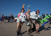 BROOKlLYN, NY - JANUARY 01 : People take part in the annual Coney Island Polar Bear Club New Year's Day swim by running into the ocean at Coney Island , Brooklyn on January 01, 2017. Photo by VIEWpress/Maite H. Mateo.