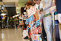 "Japanese fans wait for Lady Gaga to arrive at Narita Airport, Tokyo, on Tuesday, May 8, 2012. .Lady Gaga is in Japan on a ""Lady Gaga/The Born This Way Ball"" world tour and will play four nights in an arena venue just outside of Tokyo."