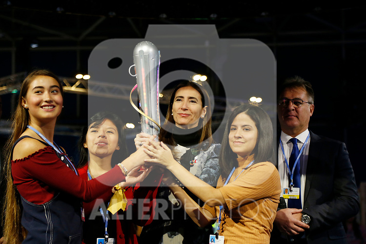 "COP25 president Carolina Schmidt (C) and indigenous leaders hold a torch during the ""No Planet B Latino Summit"" opening ceremony in the UN Climate Change Conference COP25 at the 'IFEMA - Feria de Madrid' exhibition centre, in Madrid, on December 3, 2019. - Spain's Socialist government offered to host this year's UN climate conference, known as COP25, from December 2 to December 13, 2019, after the event's original host Chile withdrew last month due to deadly riots over economic inequality. (ALTERPHOTOS/Manu R.B.)"
