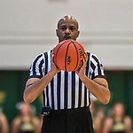 18 February 2018: NCAA Official Dwayne Gladden works an America East game between the Hartford Hawks and the University of Vermont Catamounts at Patrick Gymnasium in Burlington, Vermont. The Catamounts fell to the Hawks 69-68 in their America East Conference matchup. Mandatory Credit: Ed Wolfstein Photo *** RAW (NEF) Image File Available ***