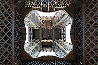 Eiffel Tower, March 31, 1889 (Universal Exhibition in celebration of the French Revolution), Alexandre Gustave Eiffel (1832-1923), 324 meters high, 10,100 tons, 18,038 pieces, 2,500,000 rivets, 1665 steps, seen on January 16, 2011 from below, Paris, France. Picture by Manuel Cohen