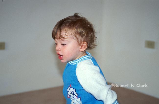 Boy running on carpet