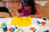 Taller de pintura, durante las festividades del día Jaguar en Alamos Sonora. 5oct2019. <br />  (© Photo: LuisGutierrez / NortePhoto.com)