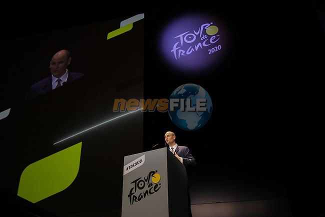 Jean-Etienne Amaury President of Amaury Sport Organisation speaks at the Tour de France 2020 route presentation held in the Palais des Congrès de Paris (Porte Maillot), Paris, France. 15th October 2019.<br /> Picture: ASO/Thomas Colpaert   Cyclefile<br /> <br /> All photos usage must carry mandatory copyright credit (© Cyclefile   ASO/Thomas Colpaert)