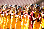 Los Angeles, CA 02/09/13 - The USC team stand during the singing of the national anthem before their game against Northwestern.