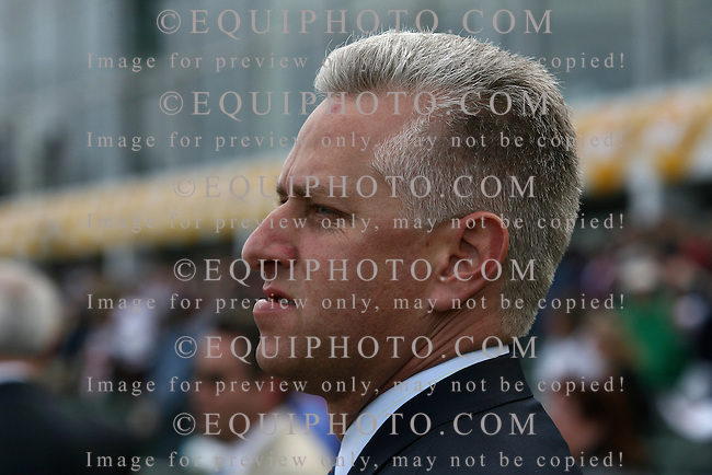 Trainer Todd Pletcher smiles after his filly Panty Raid with Edgar Prado riding won the $250,000 Black-Eyed Susan Stakes at Pimlico Racecourse in Baltimore, Maryland on Friday May 18, 2007.   Photo by Bill Denver/EQUI-PHOTO
