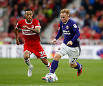 Mark Duffy of Sheffield Utd and Lewis Baker of Middlesbrough during the Championship match at the Riverside Stadium, Middlesbrough. Picture date: August 12th 2017. Picture credit should read: Simon Bellis/Sportimage