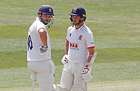 Nick Browne (left) and Jamie Porter (right) of Essex chat between overs during Essex CCC vs Kent CCC, Bob Willis Trophy Cricket at The Cloudfm County Ground on 4th August 2020