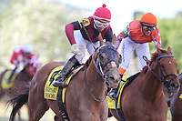 HOT SPRINGS, AR - APRIL 14: Whitmore #4, with jockey Ricardo Santana, Jr. aboard before crossing the finish line in the Count Fleet Sprint at Oaklawn Park on April 14, 2018 in Hot Springs, Arkansas. (Photo by Justin Manning/Eclipse Sportswire/Getty Images)
