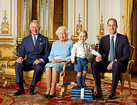 03/01/2020 - File photo released in 2016 of Prince George standing on foam blocks during a Royal Mail photoshoot for a stamp sheet to mark the 90th birthday of Queen Elizabeth II. The sheet features four generations of the Royal family, from left, Prince Charles Prince of Wales, Queen Elizabeth II, Prince George and Prince William Duke of Cambridge, and the picture was taken in the summer of 2015 in the White Drawing Room at Buckingham Palace in London. Photo Credit: ALPR/AdMedia