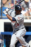 Detroit Tigers Austin Jackson #14 during a Spring Training game vs the Toronto Blue Jays at Florida Auto Exchange Stadium in Dunedin, Florida;  February 26, 2011.  Detroit defeated Toronto 4-0.  Photo By Mike Janes/Four Seam Images