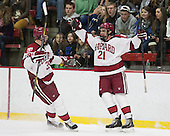 Brian Hart (Harvard - 39), Tommy O'Regan (Harvard - 21) - The Harvard University Crimson defeated the visiting Bentley University Falcons 3-0 on Saturday, October 26, 2013, in Harvard's season opener at Bright-Landry Hockey Center in Cambridge, Massachusetts.