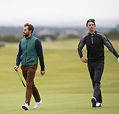 4th October 2017, The Old Course, St Andrews, Scotland; Alfred Dunhill Links Championship, practice round; Actors Jamie Dornan and Matthew Goode walk down the 16th fairway during a practice round before the Alfred Dunhill Links Championship on the Old Course, St Andrews