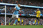 Sergio Aguero of Manchester City celebrates scoring his sides second goal - Barclay's Premier League - Manchester City vs Aston Villa - Etihad Stadium - Manchester - 05/03/2016 Pic Philip Oldham/SportImage