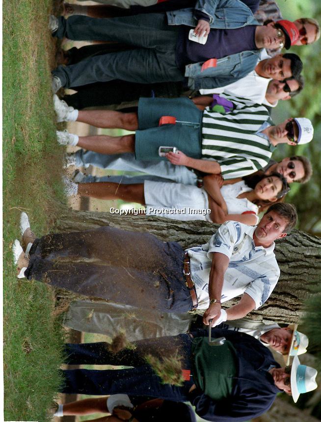 Phil Mickelson blasts out of trouble during the Tour Championship in 1994 at the Olympic Club in San Francisco. (photo by Ron Riesterer)