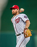 15 August 2017: Washington Nationals second baseman Daniel Murphy in action against the Los Angeles Angels at Nationals Park in Washington, DC. The Nationals defeated the Angels 3-1 in the first game of their 2-game series. Mandatory Credit: Ed Wolfstein Photo *** RAW (NEF) Image File Available ***
