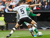 29th February 2020; Mestalla, Valencia, Spain; La Liga Football,Valencia versus Real Betis; Nail Fekir of Real Betis is challenged by Garbiel Paulista of Valencia CF