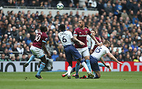 West Ham United's Marko Arnautovic and Michail Antonio challenge Tottenham Hotspur's Davinson Sanchez and Eric Dier<br /> <br /> Photographer Rob Newell/CameraSport<br /> <br /> The Premier League - Tottenham Hotspur v West Ham United - Saturday 27th April 2019 - White Hart Lane - London<br /> <br /> World Copyright © 2019 CameraSport. All rights reserved. 43 Linden Ave. Countesthorpe. Leicester. England. LE8 5PG - Tel: +44 (0) 116 277 4147 - admin@camerasport.com - www.camerasport.com
