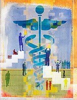 People approaching caduceus as symbol for healthcare and medicine