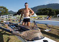 Rio de Janeiro. BRAZIL.   athelete looks at the tape used to , build up the boats defences against the rough water expected in the heats at the  2016 Olympic Rowing Regatta. Lagoa Stadium,<br /> Copacabana,  &ldquo;Olympic Summer Games&rdquo;<br /> Rodrigo de Freitas Lagoon, Lagoa.   Sunday  07/08/2016 <br /> <br /> [Mandatory Credit; Peter SPURRIER/Intersport Images]