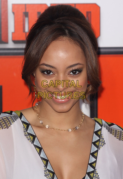 "AMBER STEVENS.""Fired Up"" Los Angeles Premiere at the Pacific Culver Theatre, Culver City, California, USA..February 19th, 2009.headshot portrait collar trim black white yellow pattern blue.CAP/ADM/CH.©Charles Harris/AdMedia/Capital Pictures"