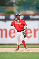 Junior Tilien (7) throws to first base during the Dominican Prospect League Elite Underclass International Series, powered by Baseball Factory, on July 21, 2018 at Schaumburg Boomers Stadium in Schaumburg, Illinois.  (Mike Janes/Four Seam Images)
