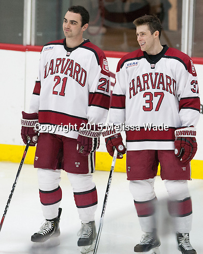 Tommy O'Regan (Harvard - 21), Desmond Bergin (Harvard - 37) - The Harvard University Crimson defeated the visiting Princeton University Tigers 5-0 on Harvard's senior night on Saturday, February 28, 2015, at Bright-Landry Hockey Center in Boston, Massachusetts.