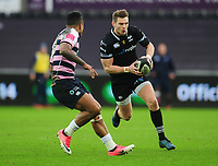 Ospreys' Dan Biggar under pressure from Cardiff Blues&rsquo; Rey Lee-Lo<br /> <br /> Photographer Kevin Barnes/CameraSport<br /> <br /> Guinness Pro14 Round 13 - Ospreys v Cardiff Blues - Saturday 6th January 2018 - Liberty Stadium - Swansea<br /> <br /> World Copyright &copy; 2018 CameraSport. All rights reserved. 43 Linden Ave. Countesthorpe. Leicester. England. LE8 5PG - Tel: +44 (0) 116 277 4147 - admin@camerasport.com - www.camerasport.com