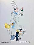"""""""Coq au Vin et Soupe du Jour""""<br /> ORIGINAL Watercolor on Paper<br /> 15"""" x 11""""<br /> $1,750"""