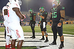 DENTON, TX - NOVEMBER 15: University of North Texas Mean Football v Florida Atlantic University at the Apogee Stadium in Denton on November 15, 2018 in Denton, Texas.