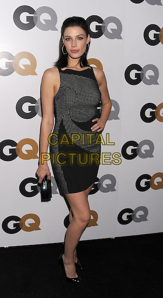 Jessica Pare.Arriving at the GQ Men Of The Year Party at Chateau Marmont Hotel in Los Angeles, California, USA..November 13th, 2012.full length dress clutch bag black white polka dot sleeveless .CAP/ROT/TM.©Tony Michaels/Roth Stock/Capital Pictures