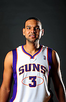 Dec. 16, 2011; Phoenix, AZ, USA; Phoenix Suns forward Jared Dudley poses for a portrait during media day at the US Airways Center. Mandatory Credit: Mark J. Rebilas-