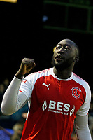 GOAL - New signing Toumani Diagouraga of Fleetwood Town celebrates with the fans after scoring during the Sky Bet League 1 match between Southend United and Fleetwood Town at Roots Hall, Southend, England on 13 January 2018. Photo by Carlton Myrie.