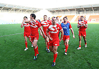 PICTURE BY VAUGHN RIDLEY/SWPIX.COM...Rugby League - International Friendly - England Knights v France - Leigh Sports Village, Leigh, England - 15/10/11…England leave the field after the final whistle.  Danny Houghton.