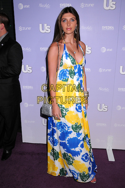 BRITTNY GASTINEAU.US Weekly's Hot Hollywood 2008 Party at Beso Restaurant, Hollywood, California, USA..April 17th, 2008.full length white blue yellow green long maxi tie dye pattern dress silver bag purse brittany britney  .CAP/ADM/BP.©Byron Purvis/AdMedia/Capital Pictures.