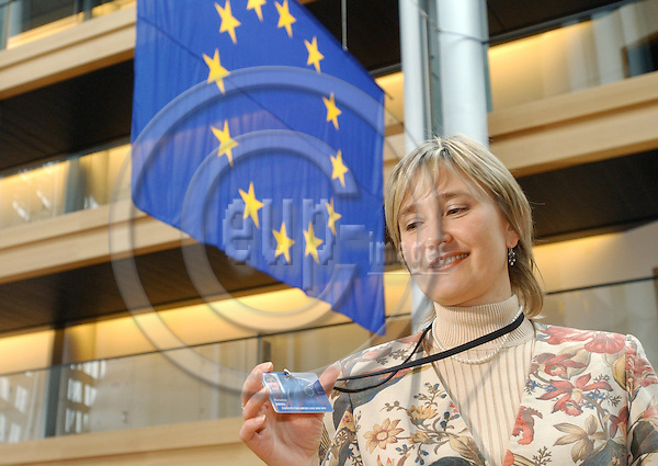 Strasbourg-France - 12 April 2005---MEP Marianne MIKKO from Estonia, Member of the Socialist Group and of the Committee on Culture and Education in the EP---Photo: Horst Wagner/eup-images
