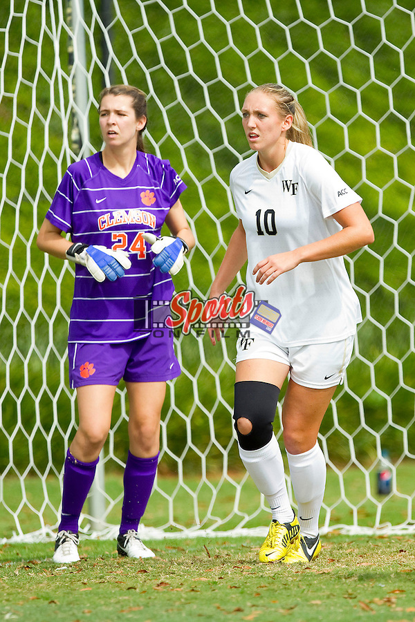 Kim Marshall (10) of the Wake Forest Demon Deacons gets position in front of Clemson Tigers goalie Sydney Branson (24) prior to a corner kick at Spry Soccer Stadium on September 30, 2012 in Winston-Salem, North Carolina.  The Demon Deacons defeated the Tigers 4-0.  (Brian Westerholt/Sports On Film)
