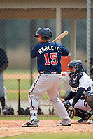 Atlanta Braves Tyler Marlette (15) during a Minor League Spring Training game against the Detroit Tigers on March 19, 2018 at the TigerTown Complex in Lakeland, Florida.  (Mike Janes/Four Seam Images)