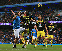 2nd November 2019; Etihad Stadium, Manchester, Lancashire, England; English Premier League Football, Manchester City versus Southampton; Sergio Aguero of Manchester City beats Pierre-Emile Hojbjerg of Southampton to head the ball across the Southampton six yard box - Strictly Editorial Use Only. No use with unauthorized audio, video, data, fixture lists, club/league logos or 'live' services. Online in-match use limited to 120 images, no video emulation. No use in betting, games or single club/league/player publications