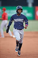 Luis Paez (1), of the AZL Padres 1, runs to third base during an Arizona League game against the AZL Angels on August 5, 2019 at Tempe Diablo Stadium in Tempe, Arizona. AZL Padres 1 defeated the AZL Angels 5-0. (Zachary Lucy/Four Seam Images)