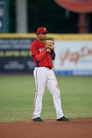 Potomac Nationals shortstop Gilbert Lara (6) during a Carolina League game against the Myrtle Beach Pelicans on August 14, 2019 at Northwest Federal Field at Pfitzner Stadium in Woodbridge, Virginia.  Potomac defeated Myrtle Beach 7-0.  (Mike Janes/Four Seam Images)