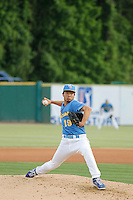 Myrtle Beach Pelicans pitcher Jen-Ho Tseng (19) pitching during a game against the Potomac Nationals at Ticketreturn.com Field at Pelicans Ballpark on May 25, 2015 in Myrtle Beach, South Carolina. Myrtle Beach defeated Potomac 3-0. (Robert Gurganus/Four Seam Images)