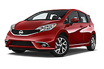 Stock pictures of low aggressive front three quarter view of a 2015 Nissan Versa Note 5 Door Hatchback