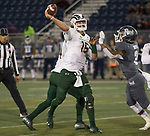 Colorado State quarterback Collin Hill (15) throws against Nevada in the second half of an NCAA college football game in Reno, Nev., Saturday, Nov. 10, 2018. (AP Photo/Tom R. Smedes)