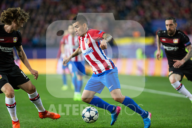 Angel Correa of Atletico de Madrid during the match of Uefa Champions League between Atletico de Madrid and Bayer Leverkusen at Vicente Calderon Stadium  in Madrid, Spain. March 15, 2017. (ALTERPHOTOS / Rodrigo Jimenez)