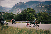 Dani&euml;l Oss (ITA/Bora Hansgrohe) &amp; Silvan Dillier (SUI/AG2R-La Mondiale) up the final climb<br /> <br /> Stage 5: Gstaad &gt; Leukerbad (155km)<br /> 82nd Tour de Suisse 2018 (2.UWT)