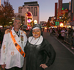 Gilbert and Gabby during the Zombie Crawl held on Saturday night, October 26, 2019 in downtown Reno.