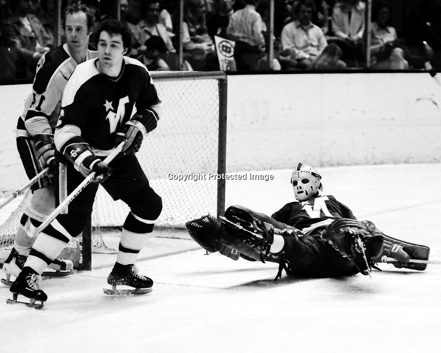 Seals vs North Stars, Craig Patrick and Stars Doug Hicks or Bill Plager and goalie Fern Rivard. (1973 photo /Ron Riesterer)